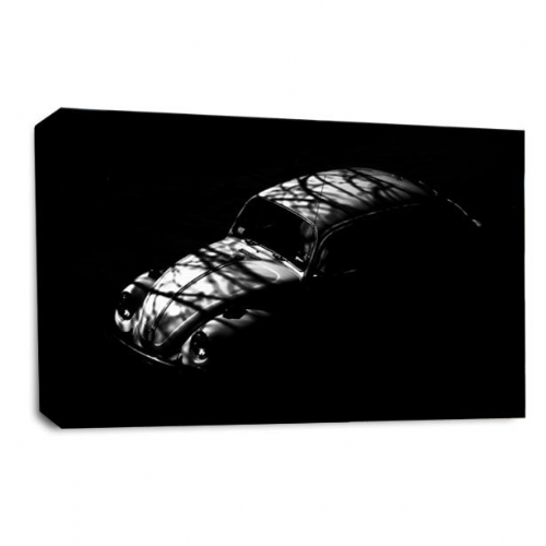 VW Beetle Car Wall Art Picture Black White Grey Shadow Print